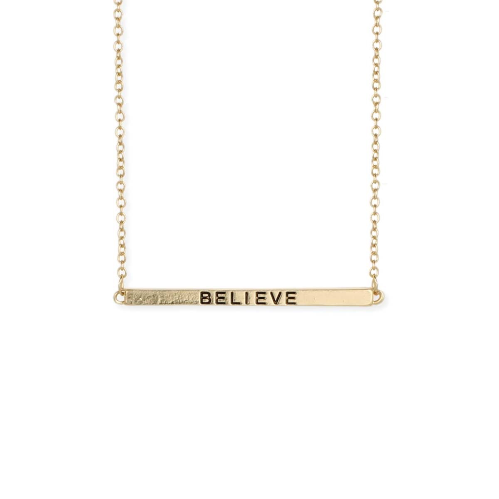 Gypsy Chic Hidden Message Believe Gold Necklace