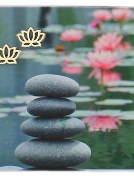 Zad Gold Lotus Flower Post Earrings