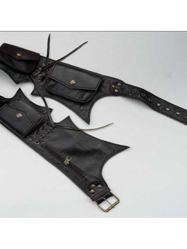 Max Leather Jagged Cut Tribal Belt
