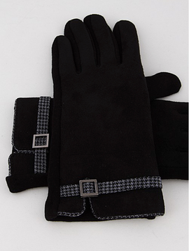 H & D Accessories Houndstooth Buckle Gloves