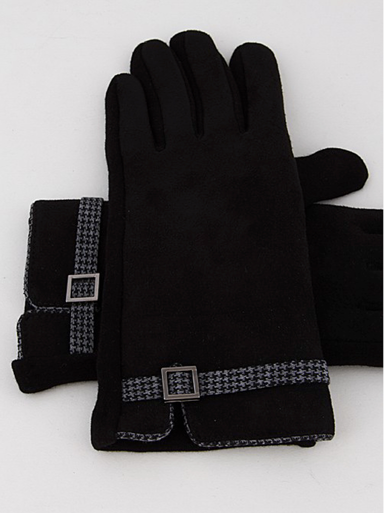Houndstooth Buckle Gloves