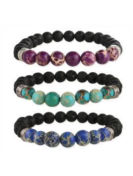 Purple Jasper and Lava Bead Essential Oil Bracelet