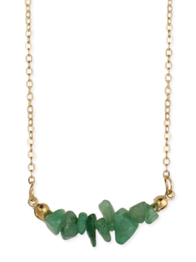 Zad Aventurine Chips Gold Necklace
