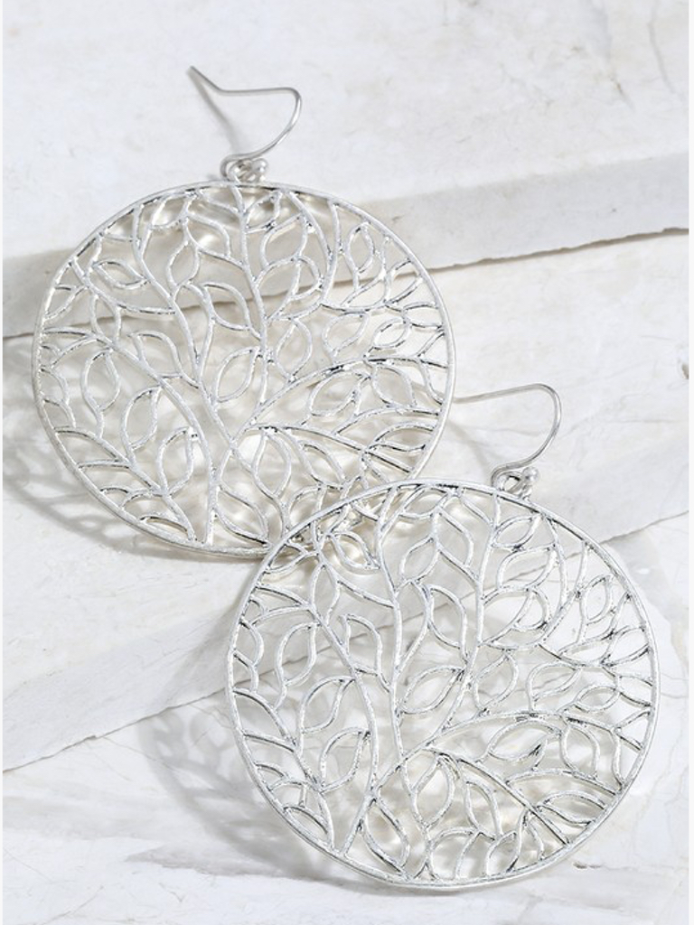 Urbanista Leaf Circle Mix Metal Silver Earrings