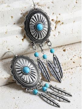 Feather Tassel Mix Metal Earrings