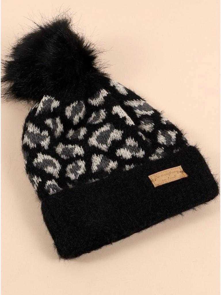Avenue Zoe Leopard Pom Pom Hat