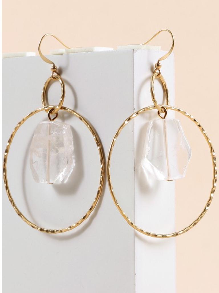 Stone Hammered Metal Earrings