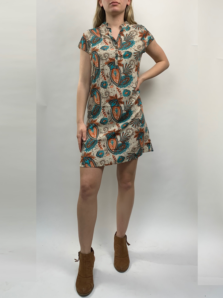 Zahara 3 Button Business Dress, Wild Garden
