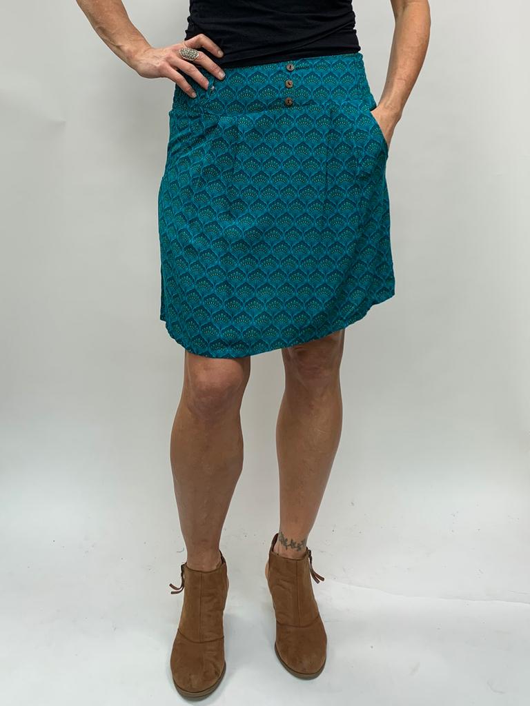Zahara 3 Button Skirt, Teal Fans