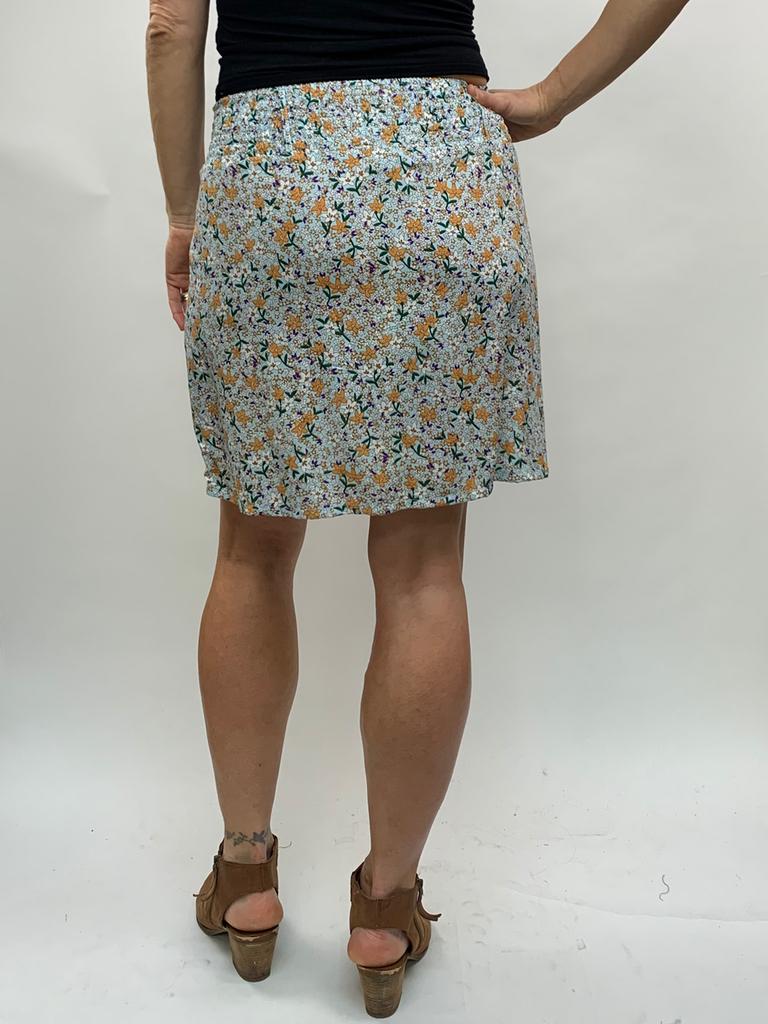 Zahara 3 Button Skirt, Flower Fields