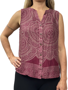 Zahara Breezy Peasy Button Top, India Dreams