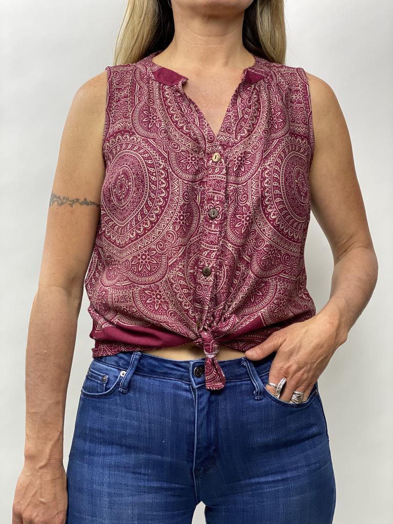 Zahara Breezy Peasy Button Top, India Dreams