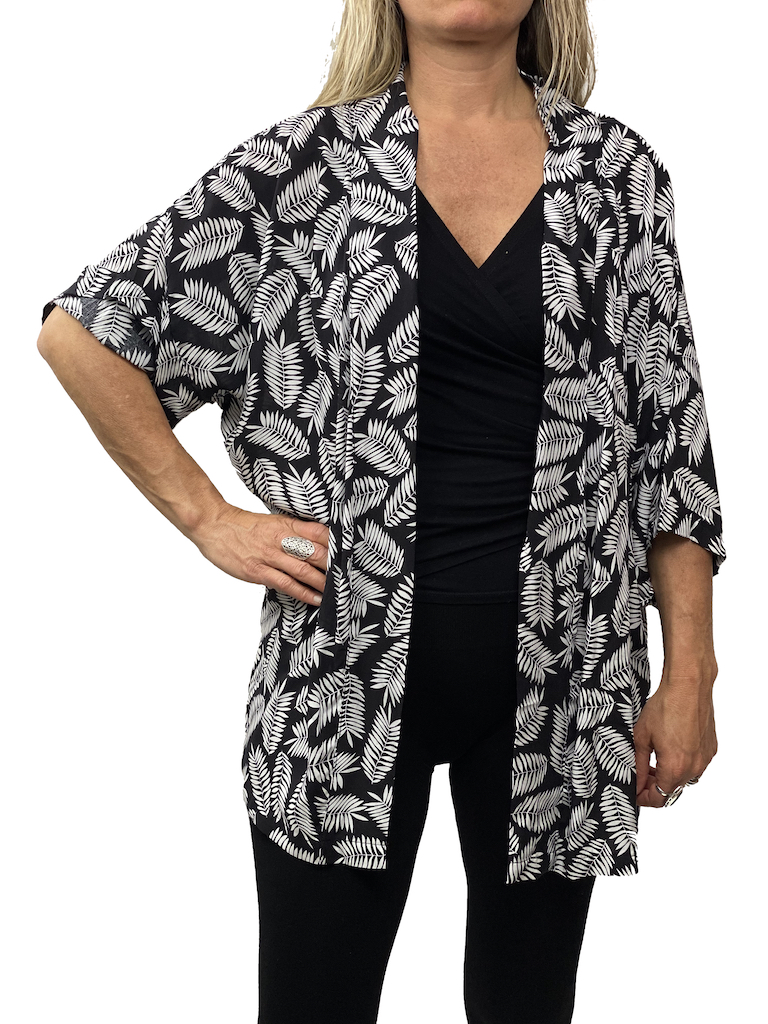 Zahara Culture Cardigan, Black Palms