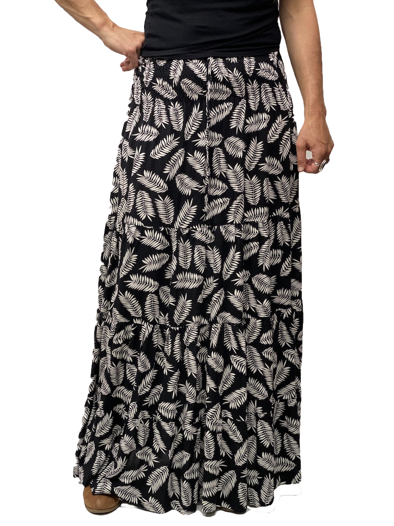 Zahara Meadow Skirt, Black Palms