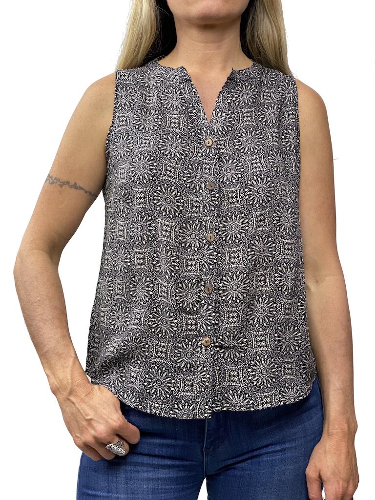 Zahara Breezy Peasy Button Top, Eclipse
