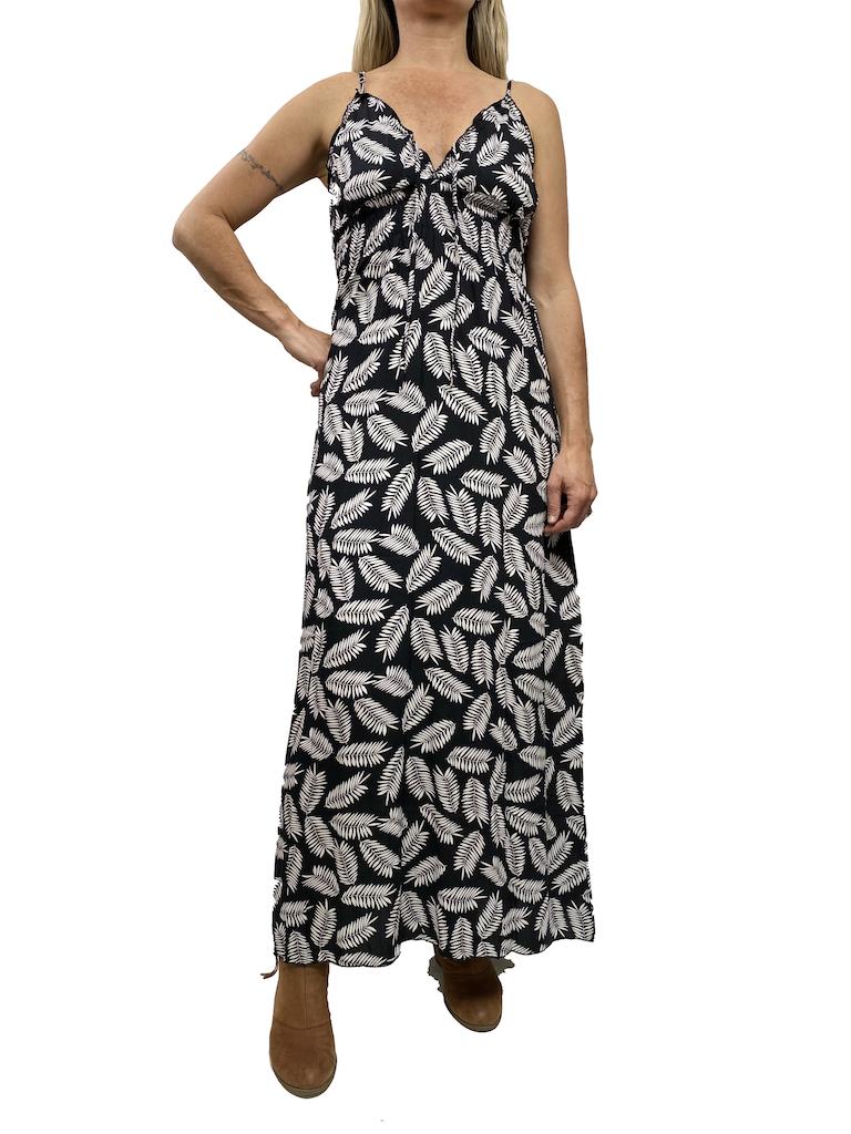 Zahara Whimsical Maxi Dress,  Black Palms