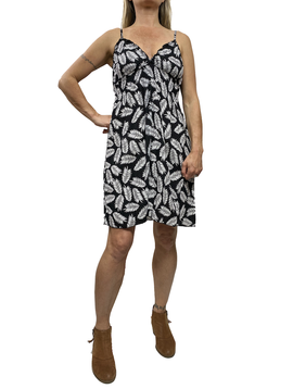 Zahara Whimsical Short Dress, Black Palms