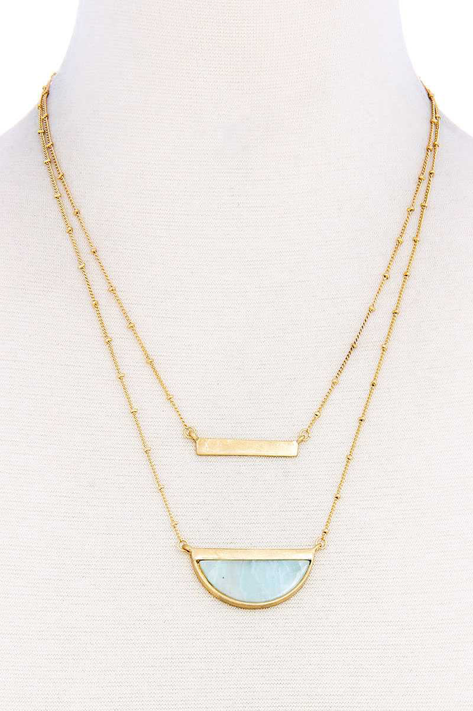 Double Layer Demi-Stone Necklace1
