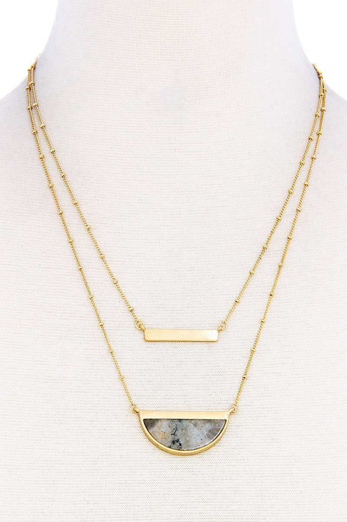 Double Layer Demi-Stone Necklace2