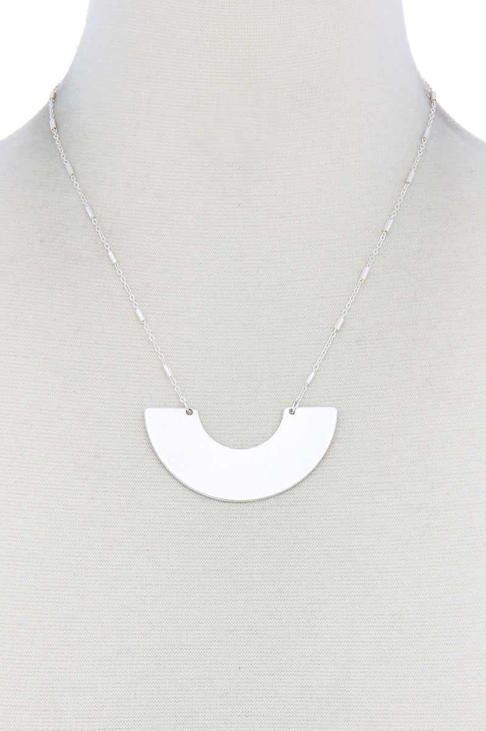joia Half Circle Silver Necklace