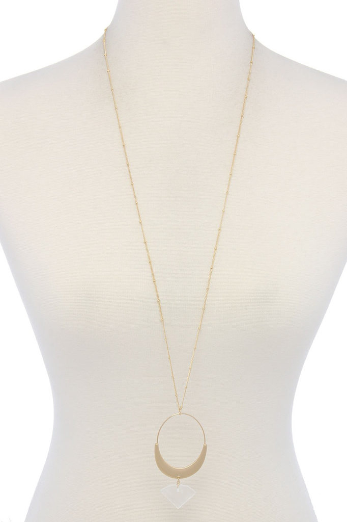joia Half Circle Stone Necklace1