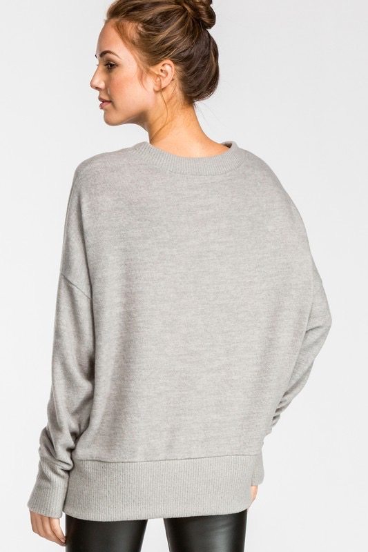 Brushed Knit Pullover Sweater