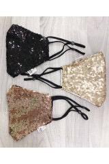 Sequin Mask (Black,Beige, Brown)