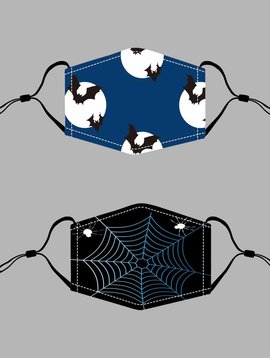 Blue Bats or Black Web Halloween Mask