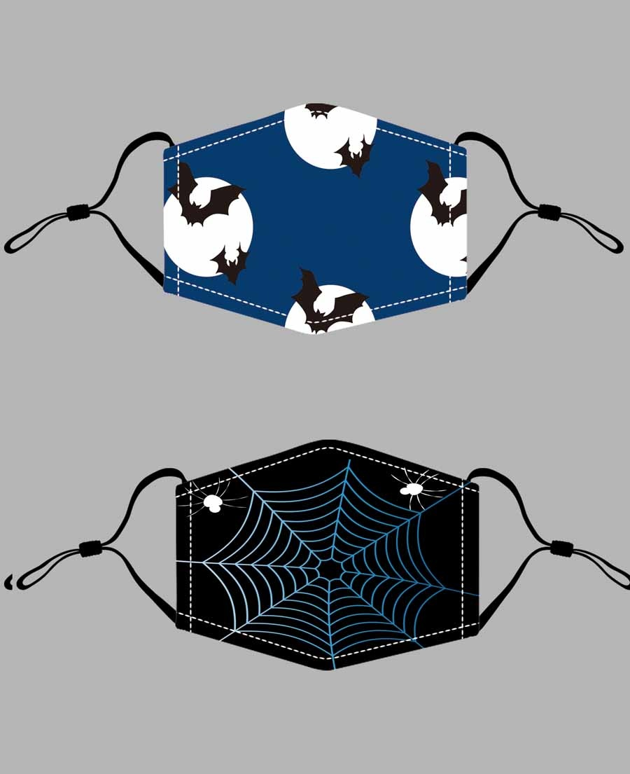 Blue Bats And Black Web Halloween Mask