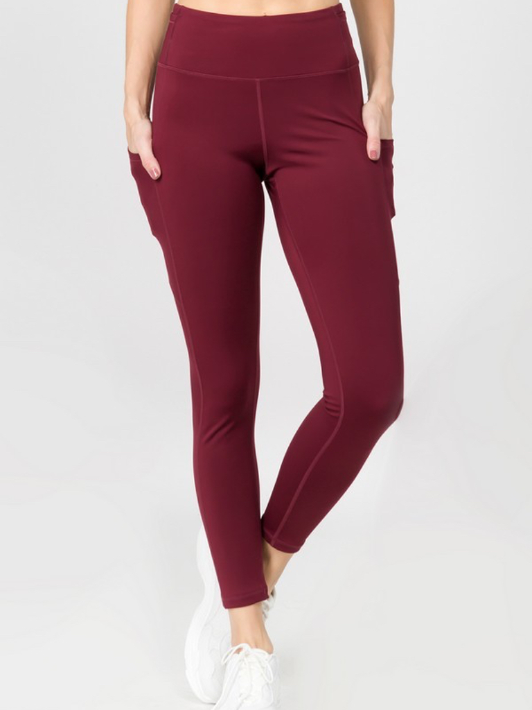 Yelete Active Sport 5 Pocket Burgundy Legging