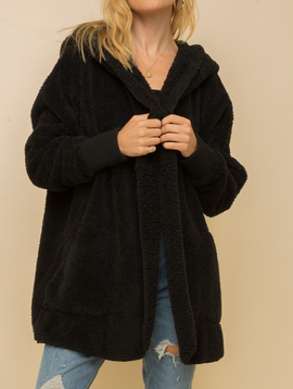 Hem & Thread Faux Fur Plush Jacket in Black