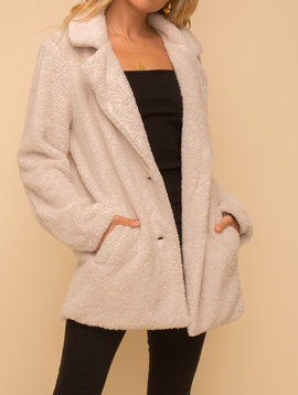 Hem & Thread Faux Fur Plush Coat in Cream