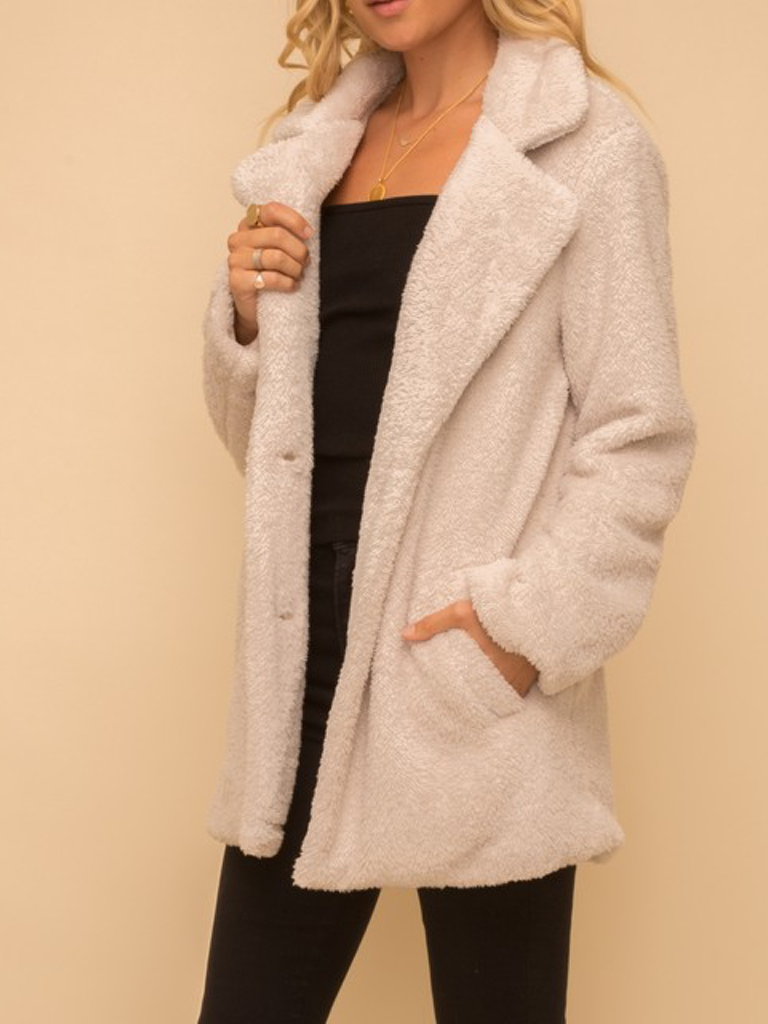 Hem & Thread Fax Fur Plush Coat in Cream