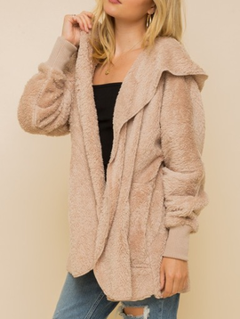 Hem & Thread Faux Fur Plush Jacket in Taupe