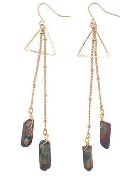 BOPS Labradorite Crystal on Gold Chain Earring