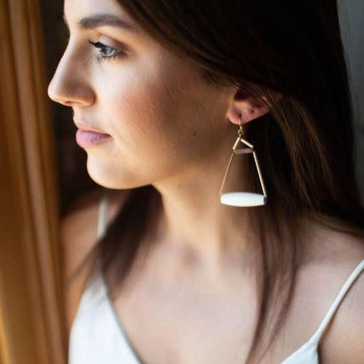 BOPS Golden Cream Spool Earring