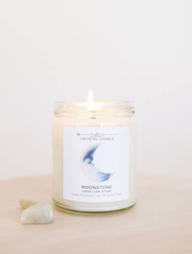 JaxxKelly Moonstone Crystal Candle - Brings Good Luck