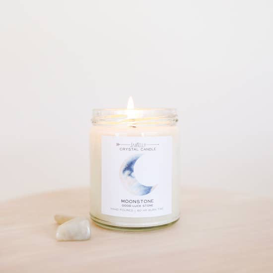 JaxxKelly Moonstone Crystal Candle