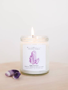 JaxxKelly Amethyst Crystal Candle - Spiritual Growth & Healing