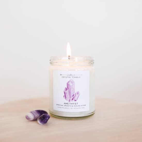 JaxxKelly Amethyst Crystal Candle - Spiritual Growth & Healing