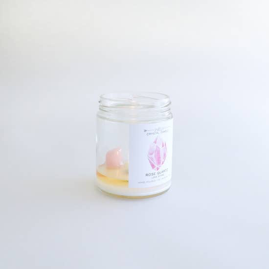 JaxxKelly Rose Quartz Crystal Candle - Love