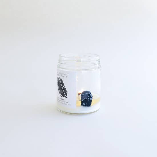 JaxxKelly Obsidian Crystal Candle - Block Negativity