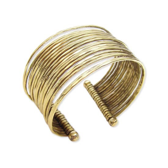 Gold Thin Hammered Bunch Cuff