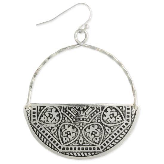 Embossed Silver Half Circle Earrings