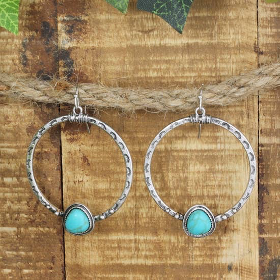 Turquoise Teardrop & Hammered Round Earring