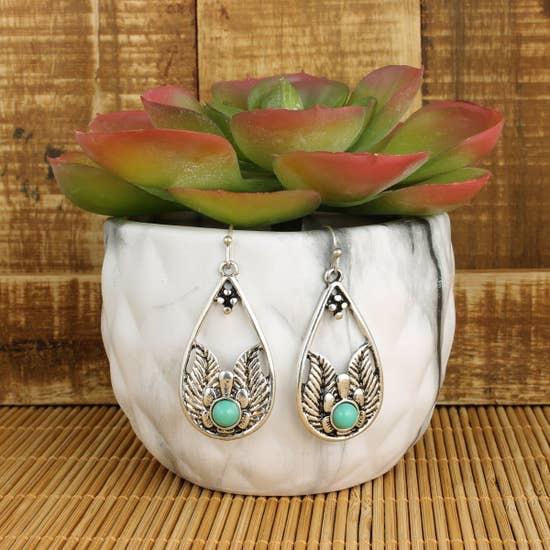 Silver Flower & Green Stone Teardrop Earring