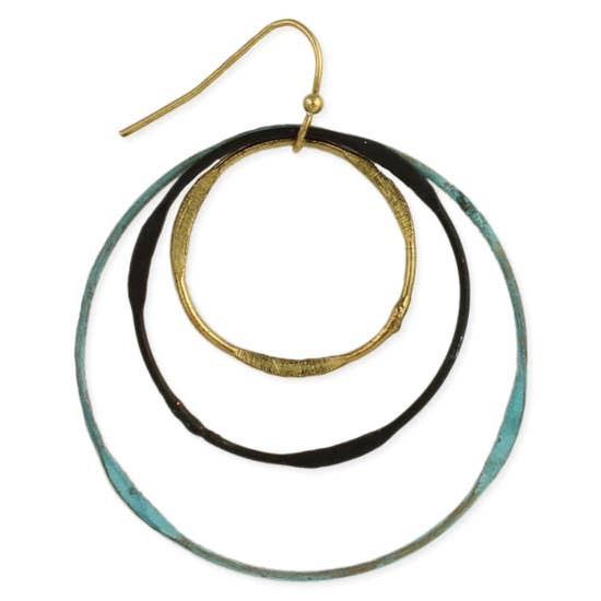 Vintage Patina Circles Round Earring