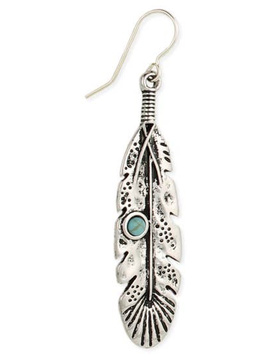 Silver Feather & Turquoise Bead Earrings