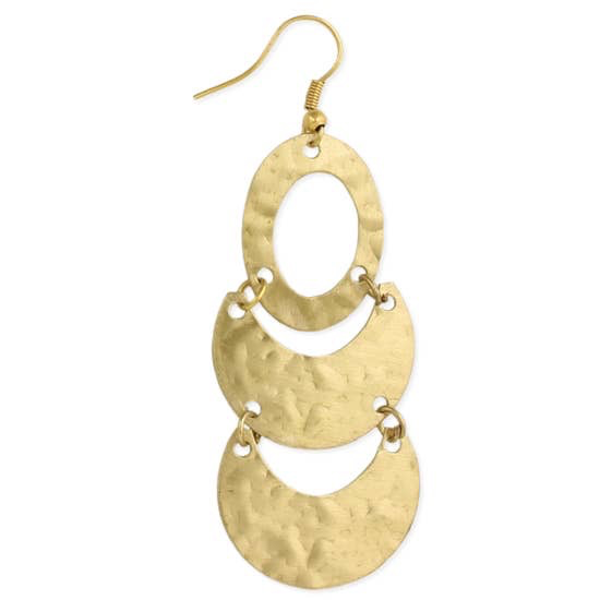 Old World Textures Gold Geometric Hammered Earring