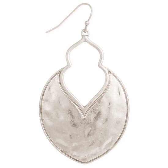 Silver Arabesque Hammered Earring